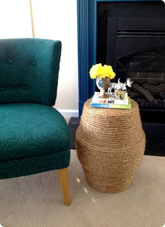 Rope side table or ottoman made from two ceramic planters - a Crate & Barrel knock off