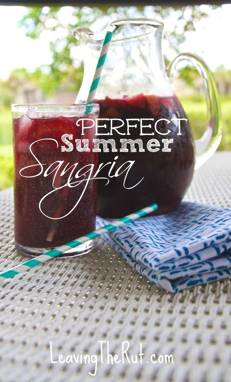 Perfect Summer Sangria... or for any season :) This is a great cocktail recipe for those warm summer BBQ days! Or if you are like me and live in the south we enjoy summer drinks year round. This is the best Sangria recipe that I have found yet! Pin now for when you need a great drink to serve at your next summer grill out!  http://leavingtherut.com/perfect-summer-sangria-or-for-any-season/