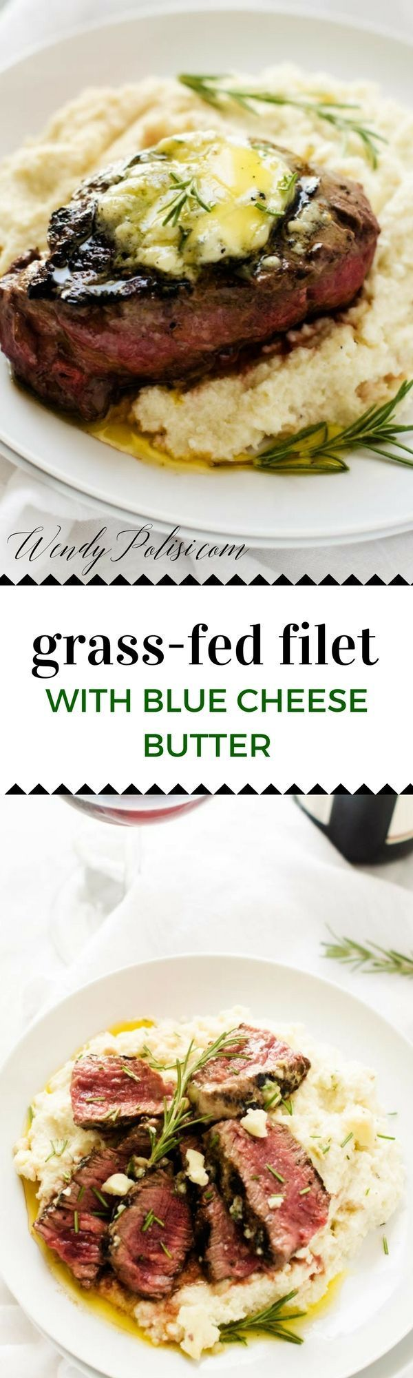 Grass-Fed Filet with Blue Cheese Butter - This Grass-Fed Filet with Blue Cheese Butter is a splurge-worthy steak recipe that will rock your world!  Not only is grass-fed steak better for you, but it also tastes amazing.  Plus, come learn the top five places I've discovered for grass-fed organic beef delivery. - http://WendyPolisi.com #sponsored /greensbury/