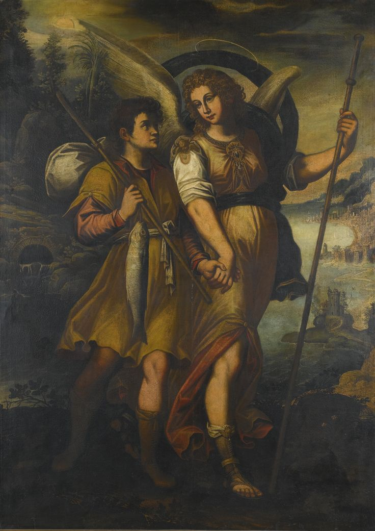 Spanish School, 17th century RAPHAEL AND TOBIAS oil on canvas, unlined 160 by 116.2 cm.; 63 by 45 3/4  in.:
