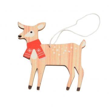 Kerstboomhanger, hout, hert, sjaal