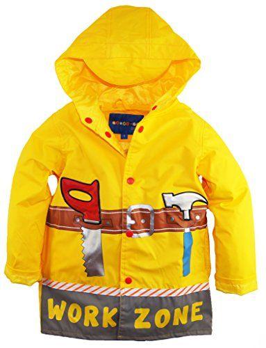 Wippette Little Boys' Waterproof Hooded Construction Raincoat Jacket *** Continue @