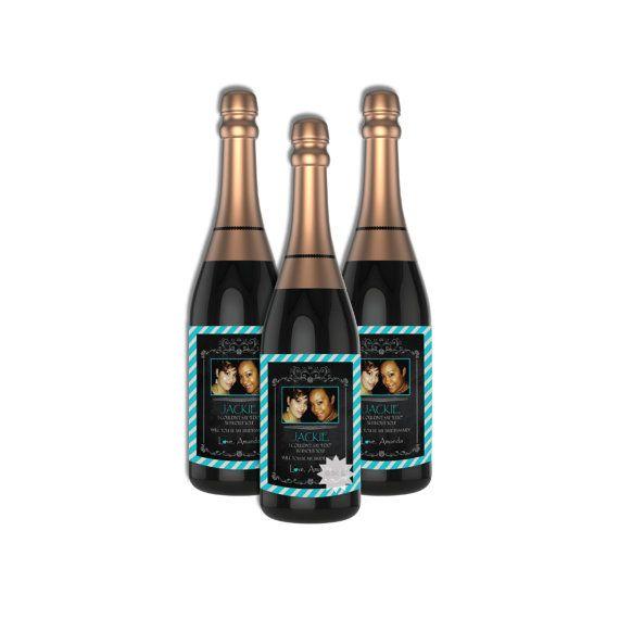 Set of 8 Photo Bridal Shower Wine Bottle by AllbyWanda on Etsy