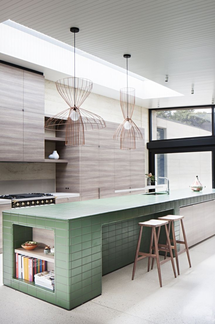 design kitchen italian%0A A greentiled kitchen island is the focal point in an organicmodern  contemporary wood kitchen design at Layer House by Robson Rak architects   Australia