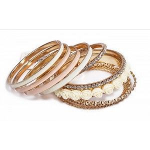 Metal Bangles Set with Enamel and Glass Stones http://www.julify.com/