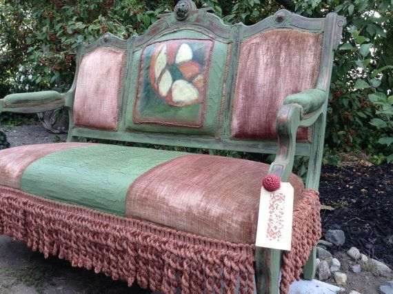 Antique LoveSeat - French Country Love Seat - Shabby Chic Couch - Bohemian Couch - Vintage Loveseat - Farmhouse - Eastlake Couch