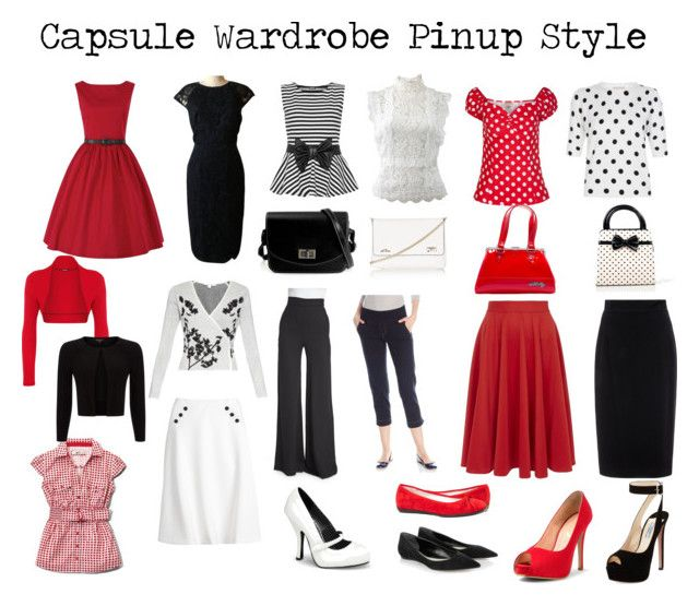 Capsule Wardrobe Pin-up Style by laralabiche on Polyvore featuring moda, Ted Baker, Oscar de la Renta, Diane Von Furstenberg, Phase Eight, WearAll, Naeem Khan, Raoul, White House Black Market and Closet