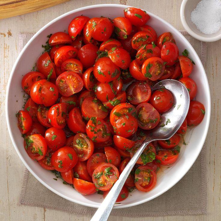 Cherry Tomato Salad Recipe -This recipe evolved from a need to use the bumper crops of delicious cherry tomatoes we grow. It's become a summer favorite, especially at cookouts. —Sally Sibley, St. Augustine, Florida
