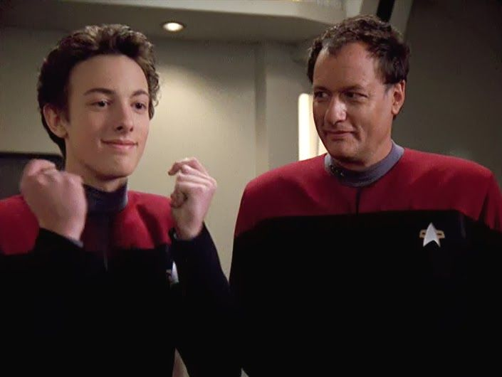 Q Jr. and Q - John de Lancie's real life son played his son, Q Jr.