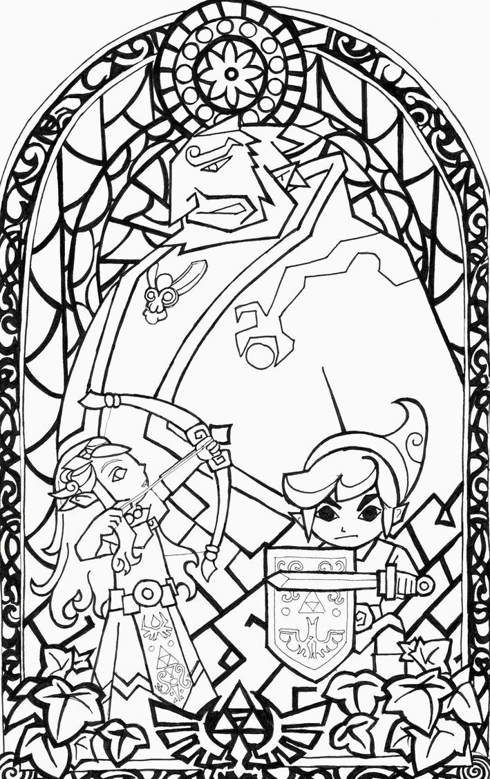 Coloring pages zelda - The Legend Of Zelda Wind Waker Stained Glass Window My Boyfriend Is In Love With This Wind Waker Illustration So I Decided To Draw This For Him
