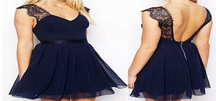 $19.00 For A Navy Blue Backless Chiffon Dress (Value $59.99)  OR $34.00 For TWO