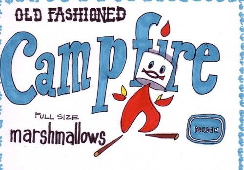 Campfire Marshmallows-5x7 inch print from Original Illustration. $5.00, via Etsy.