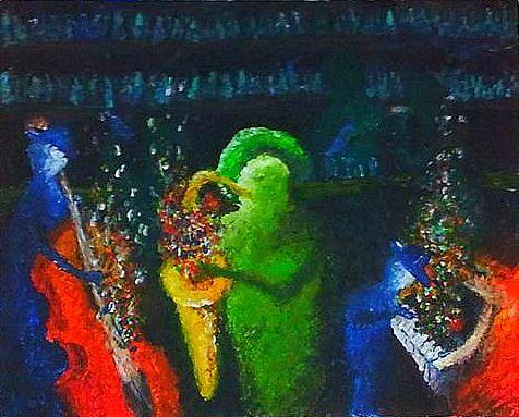 De verschillende kleuren ''stipjes'' kan de ''sfeer'' zijn die word gemaakt door de muziek