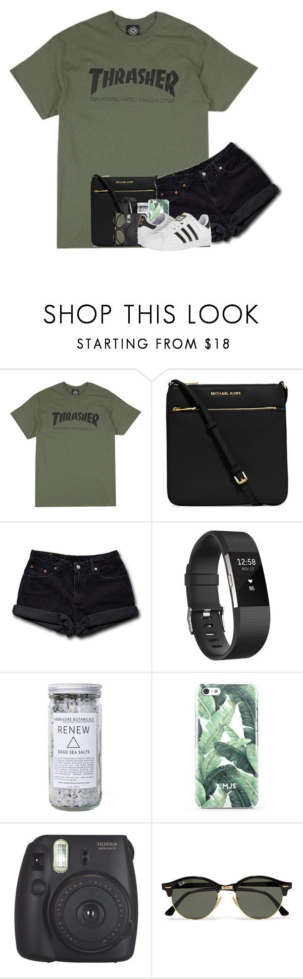 """Colors of the Rainbow: Green Contest {rtd4group}"" by katie-1111 ❤ liked on Polyvore featuring MICHAEL Michael Kors, Levi's, Fitbit, Herbivore, Fujifilm, Ray-Ban, adidas, katieRtopsets and katiehasfavorites"