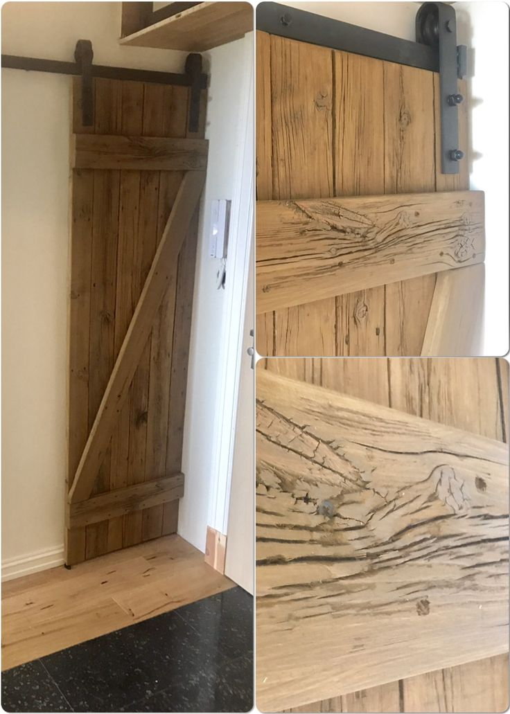 The door to the shoe cabinet - made of 20-year-old boards from the terrace .