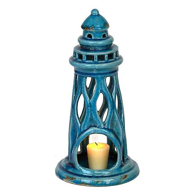 Aqua Ceramic Lighthouse Candle Holder | Kirklands