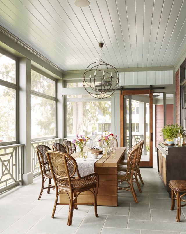Lake house screened porch   perfect for lounging or a casual meal with friends and family