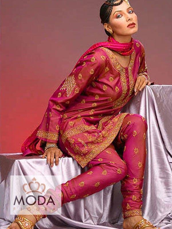Punjabi churidar salwar suit in dark rani pink colour.