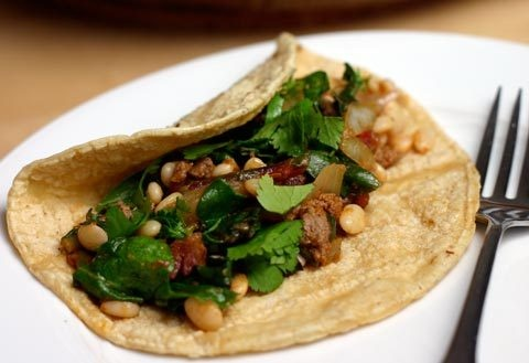 Lamb and Tepary Bean Tacos with Chard | Bean Tacos, Ground Lamb and ...