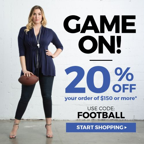 Big Game 20% off $150 or more #Fashionsale #Plussizeclothing http://www.planetgoldilocks.com/plussize_clothing.htm 20% off $150 or more with code FOOTBALL #coupon #SuperBowl2017 #SuperBowl