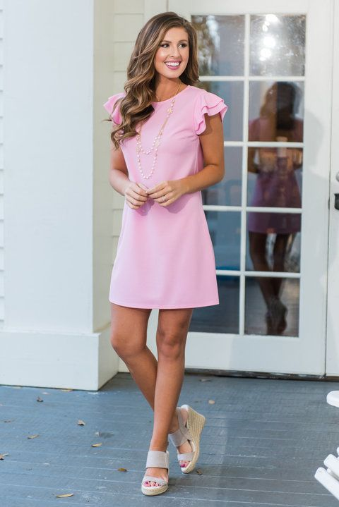 """Beauty Bound Dress, Baby Pink""Beauty abounds with this precious pink dress! Those fluttering sleeves are too cute and so wonderfully feminine! #newarrivals #shopthemint"