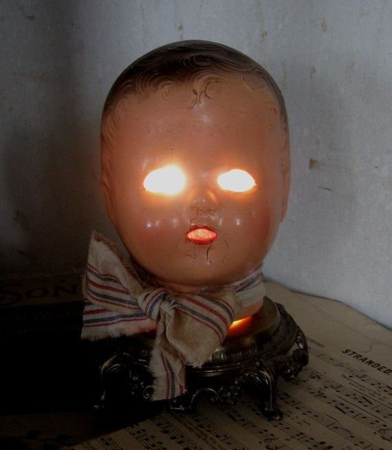 Image result for halloween candy bowl with baby dolls head & pumpkin lid on head