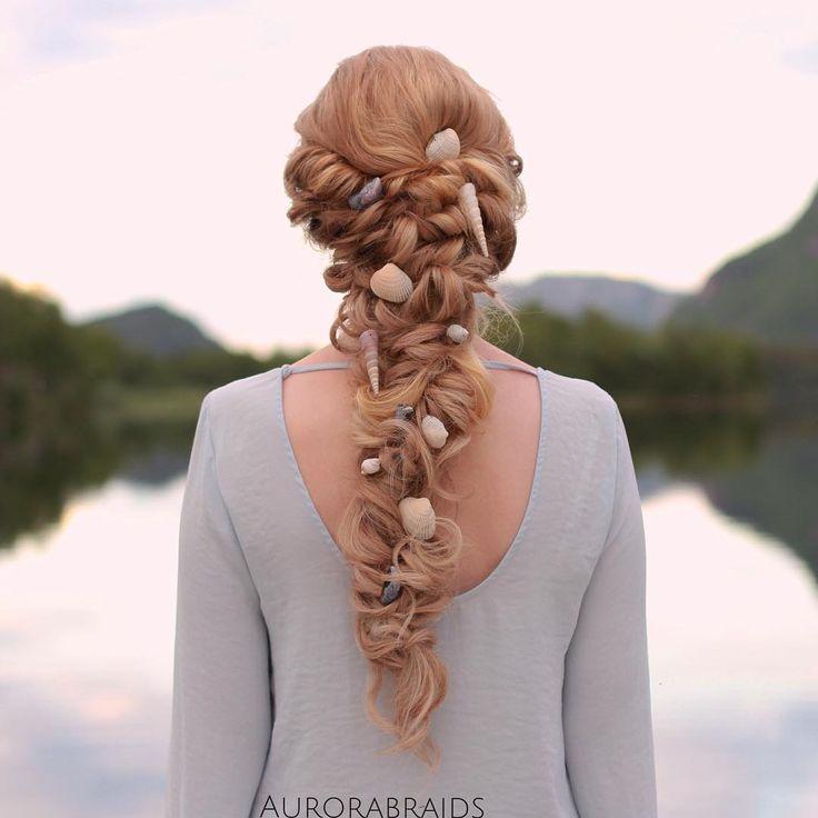 Mermaid braid I feel like putting shells in my hair would not go over well.