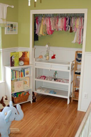 Gender neutral nursery. Great use of small spaces.