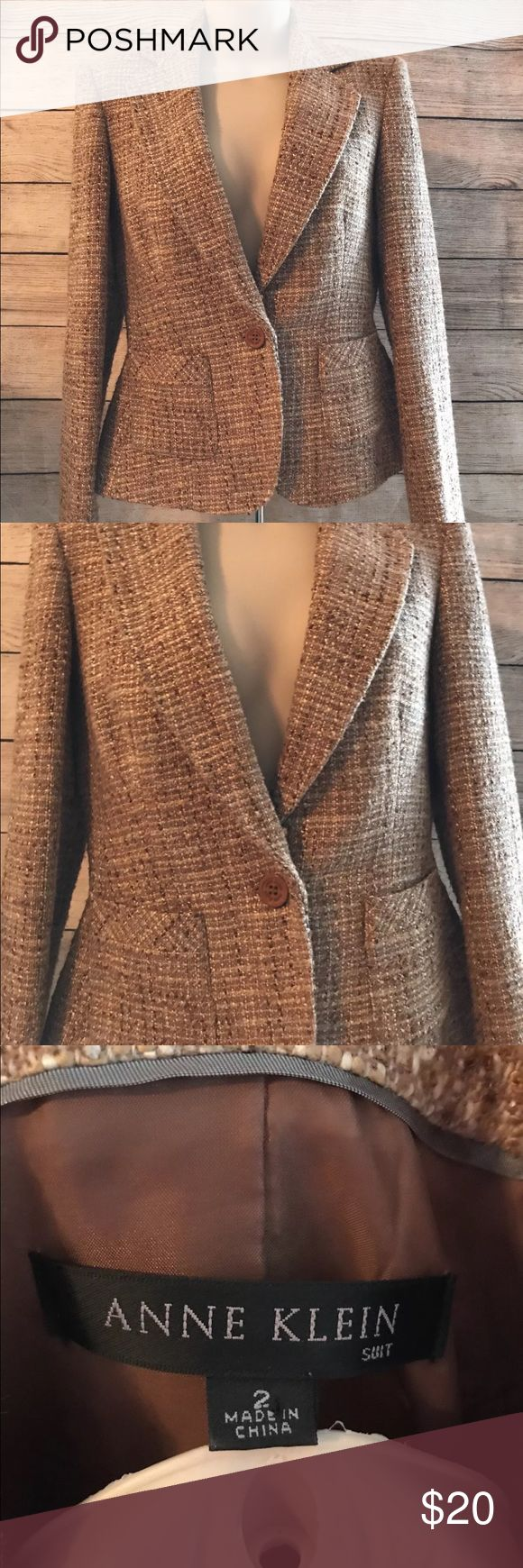 "Anne Klein Women's Tweed Fitted Blazer Jacket 2 Anne Klein Women's Tan Tweed Fitted Single Button Blazer Jacket Coat Size  Measures 19"" from armpit to armpit to armpit  Measures 21 1/2"" from shoulder seam to bottom hem. EUC Anne Klein Jackets & Coats Blazers"