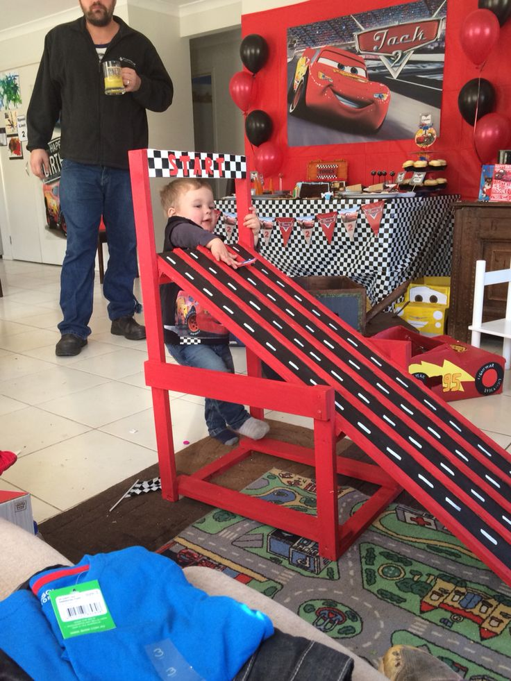 Cars party activities race track ramp diy                              …