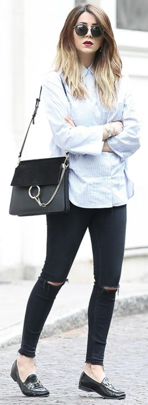 smart casual look + loafers + button up shirt + pair of distressed jeans + ideal for every day wear + edgy and alternative style + Nicoletta Reggio.  Shirt/Jeans: Zara, Bag: Chloe, Shoes: Gucci.