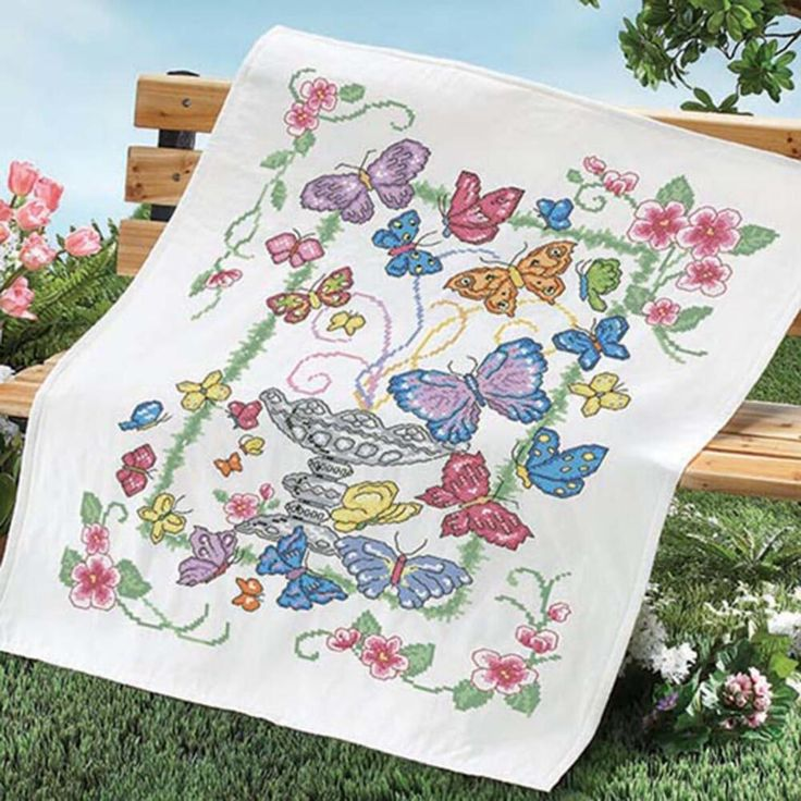 Herrschners? Butterfly Garden Lap Quilt Top Stamped Cross-Stitch Kit To do List Pinterest ...