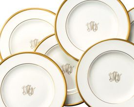 """Monogrammed China...these pieces are in my """"Style Book""""...not sure if I wanna go there."""