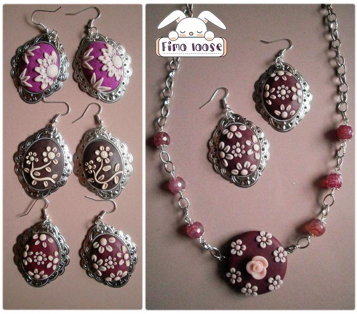 fimo polymer clay orecchini earrings collana cammeo fiori