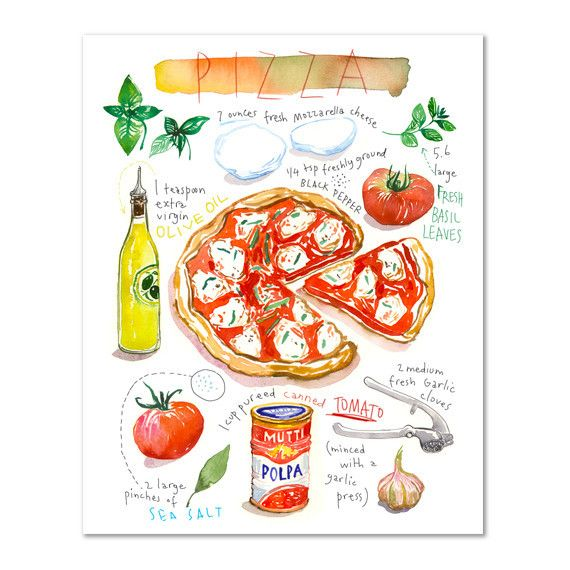 """Pizza recipe. Watercolor illustrated recipe. Archival giclee reproduction print. Printed on fine art """" BFK Rives """" hot-pressed paper, smooth surface, 140 lb, 100% cotton (acid free ), using archival p"""