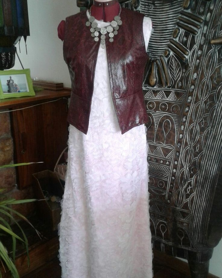 Vintage lace dress with vintage coin necklace and faux leather waistcoat