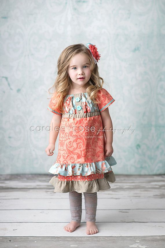 Girls Aqua and Coral Peasant Dress Easter 2014  by mellonmonkeys, $42.00