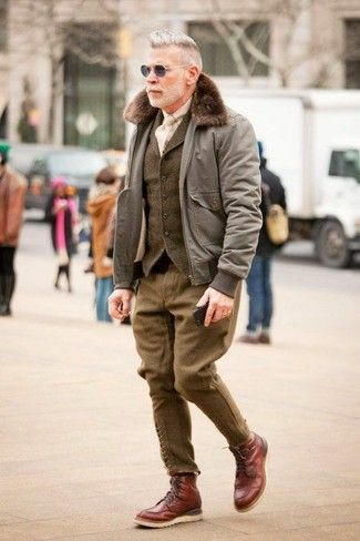 Men's Grey Bomber Jacket, Olive Wool Waistcoat, Beige Long Sleeve Shirt, Olive Wool Dress Pants
