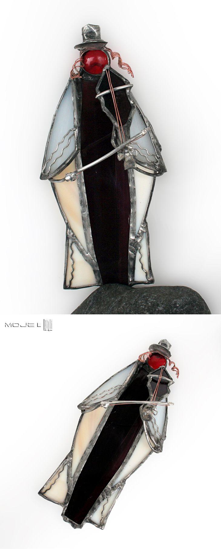 Żydek ze skrzypcami / Jew with violin. Witraż Tiffany / Tiffany Stained Glass. Moje MW