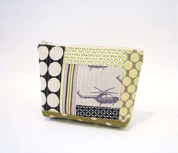 Modern Quilted Zipper Cosmetic Pouch Patchwork by fieldofroses