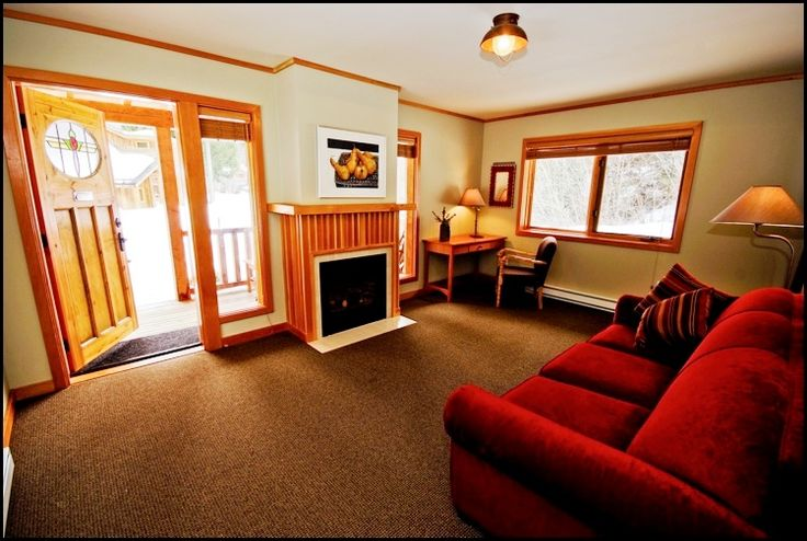 our one bedroom cabin (Trappers Cabin) is usually for the bride + groom, except for before the wedding when the girls take over the living space to get beautified