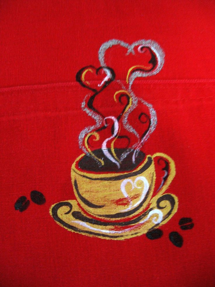 Tazza di caffè su uno strofinaccio rosso - pittura su stoffa