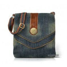 images- recyle denim bags | Recycled denim bag, blue mini messenger bag - E-CanvasBags
