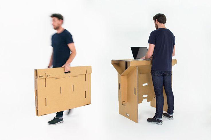 refold cardboard standing desk changes the way you work - designboom | architecture