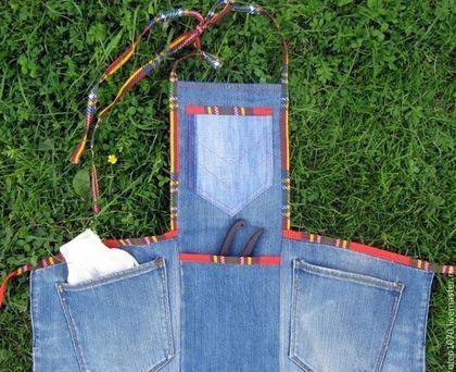 Купить Джинсовый фартук - синий, фартук, фартук для сада, джинсвый фартук, джинсовый стиль, джинса