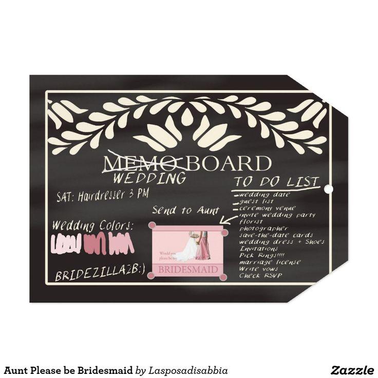 Aunt Please be Bridesmaid 5x7 Paper Invitation
