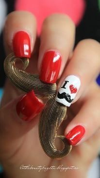 I Heart Mustaches Nails. #fingernails #nailart #nails