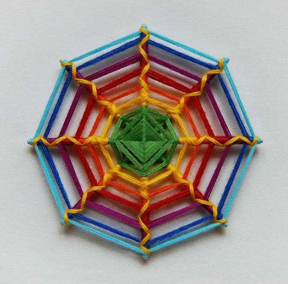 Rainbow Web double-sided yarn mandala Ojo de Dios by JivaMandalas