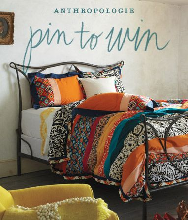 Florence Duvet. Anthropologie. Orange, black, teal and white. No longer available, but good inspiration for DIY.