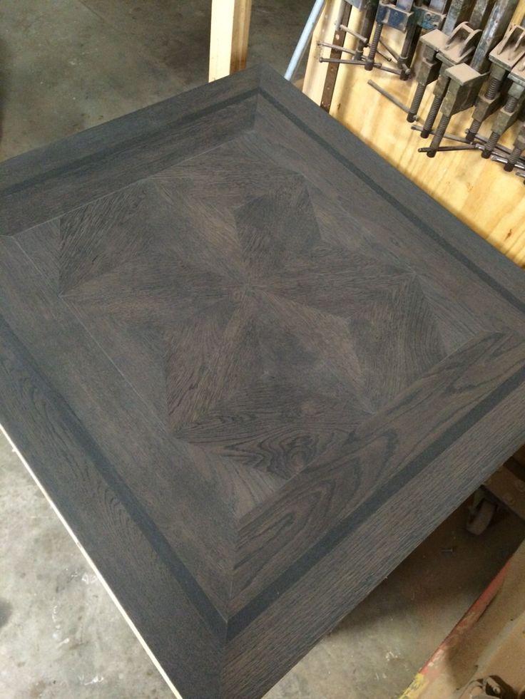 Parquet module floor sample with ebony stain. Parquet